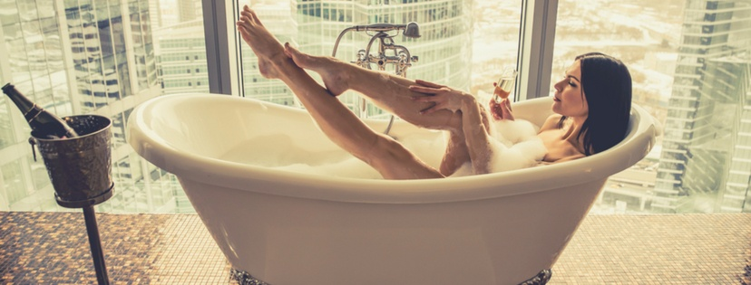 woman enjoy luxury bathtub